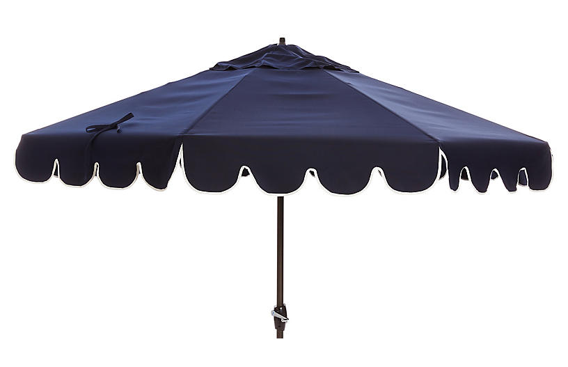 Phoebe Scallop-Edge Patio Umbrella, Navy