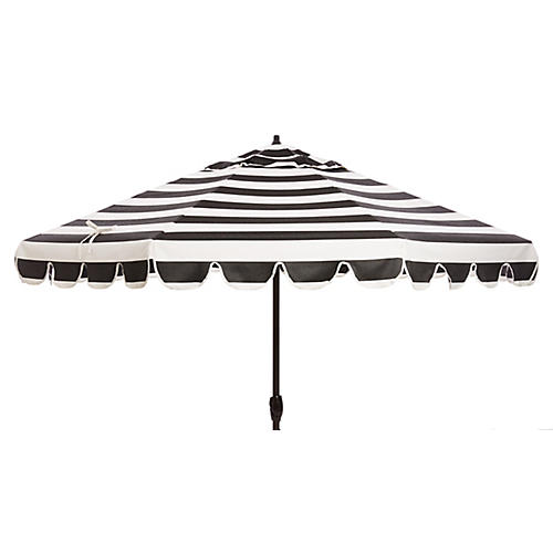 Phoebe Scallop-Edge Patio Umbrella, Black/White