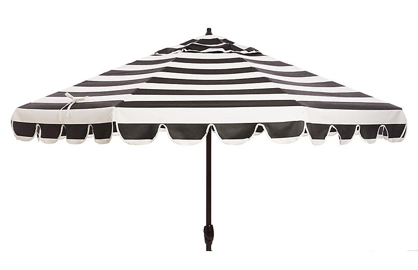 Phoebe Scallop-Edge Patio Umbrella, Black/White