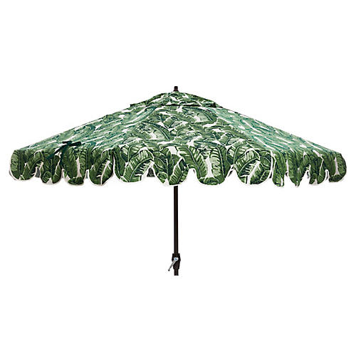 Phoebe Scallop-Edge Patio Umbrella, Palm Leaf