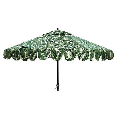 Phoebe Scallop-Edge Patio Umbrella, Palm Leaf