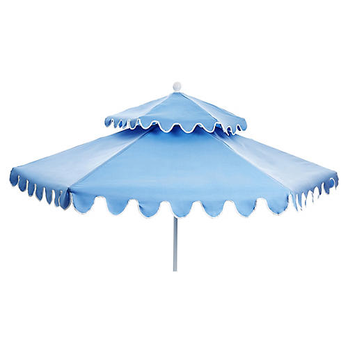 Daiana Two-Tier Patio Umbrella, Light Blue/White