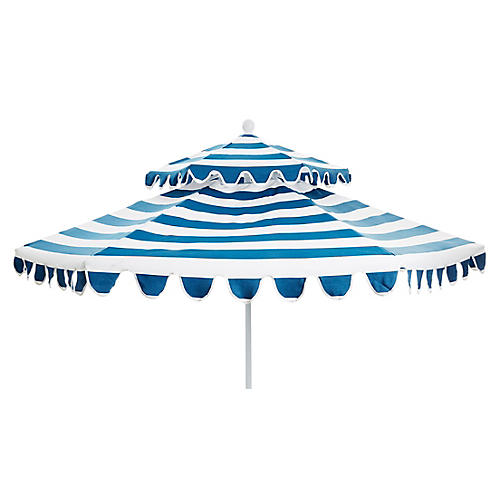 Daiana Two-Tier Patio Umbrella, Regatta Blue