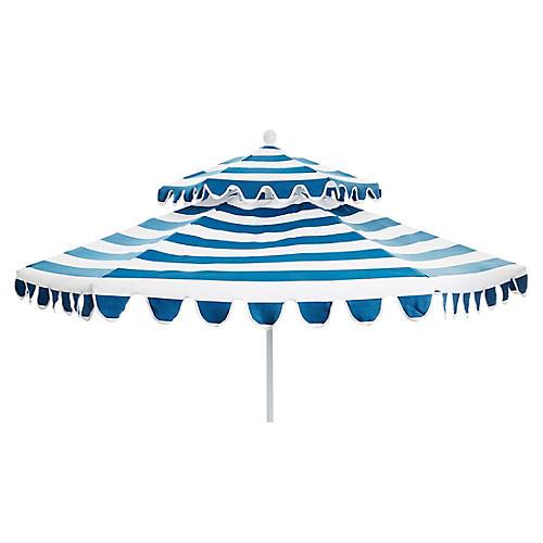 Daiana Two-Tier Patio Umbrella, Regatta Blue