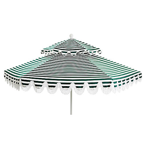 Daiana Two-Tier Fringe Patio Umbrella, Forest Green