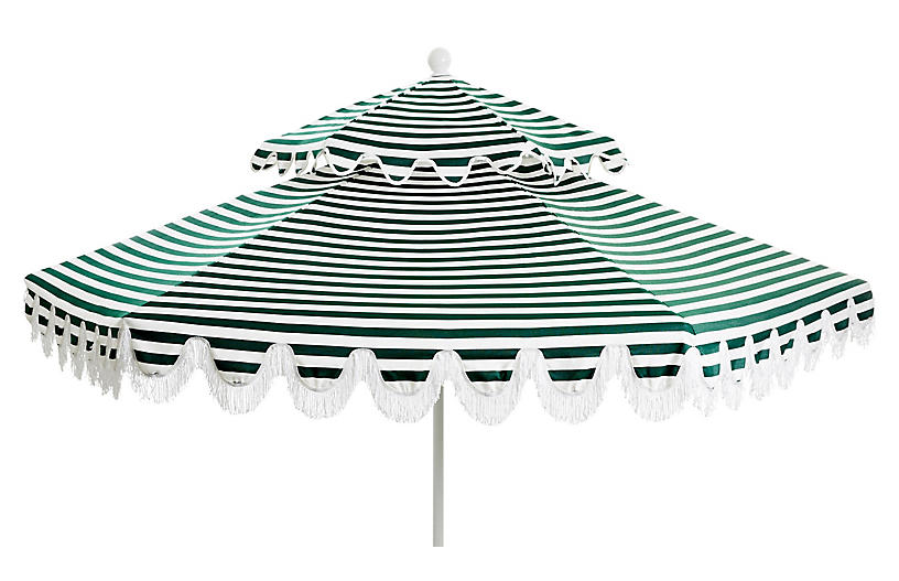 Daiana Two-Tier Fringe Patio Umbrella, Green