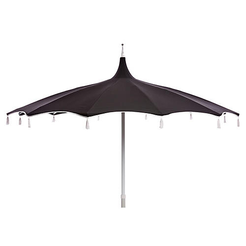 Rena Tassel Patio Umbrella, Black