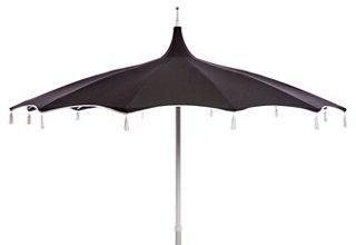 Rena Pagoda Tassel Patio Umbrella, Black/White   Patio Umbrellas U0026 Stands    Outdoor Furniture   Outdoor | One Kings Lane