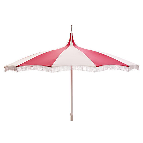 Ari Pagoda Fringe Patio Umbrella, Hot Pink/White