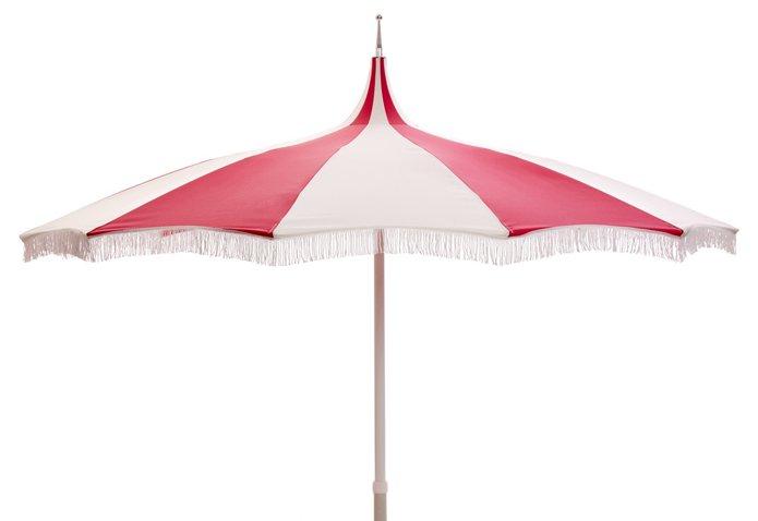 Ari Pagoda Fringe Patio Umbrella, Hot Pink/White - One Kings Lane ...