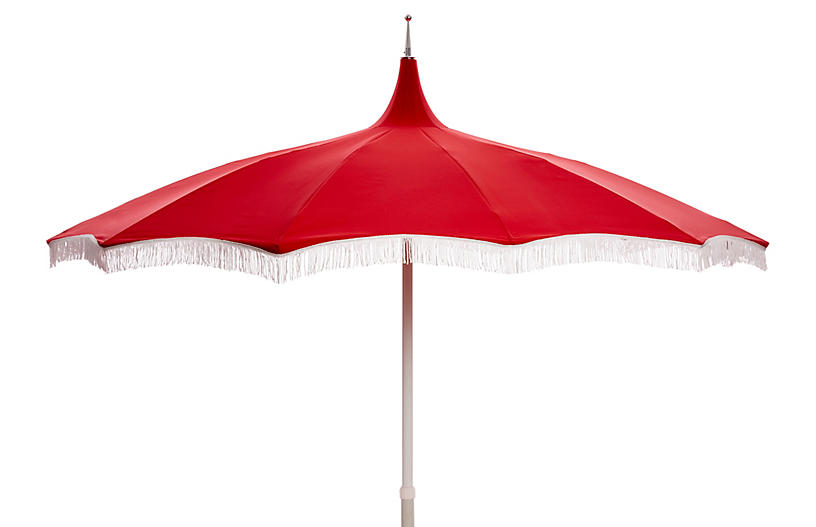 Ari Pagoda Fringe Patio Umbrella, Red/White