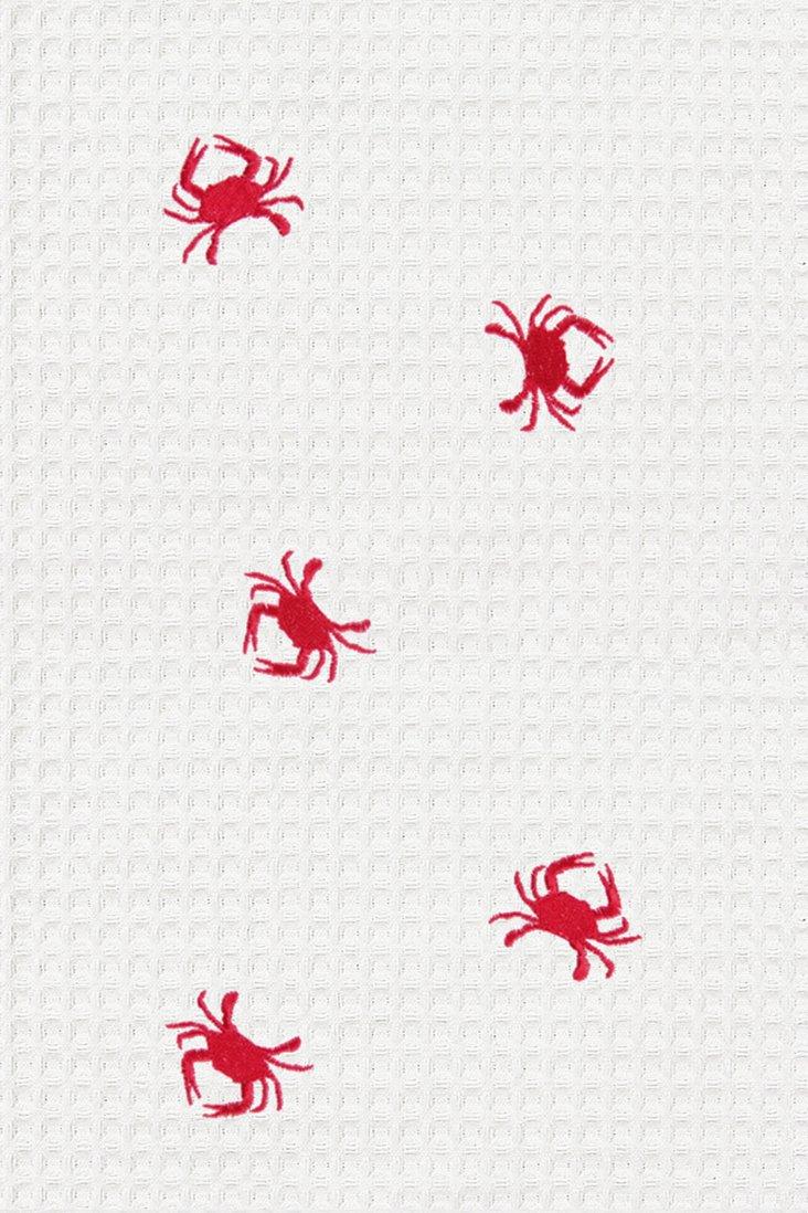 S/2 Tiny Crabs Kitchen Towels, White