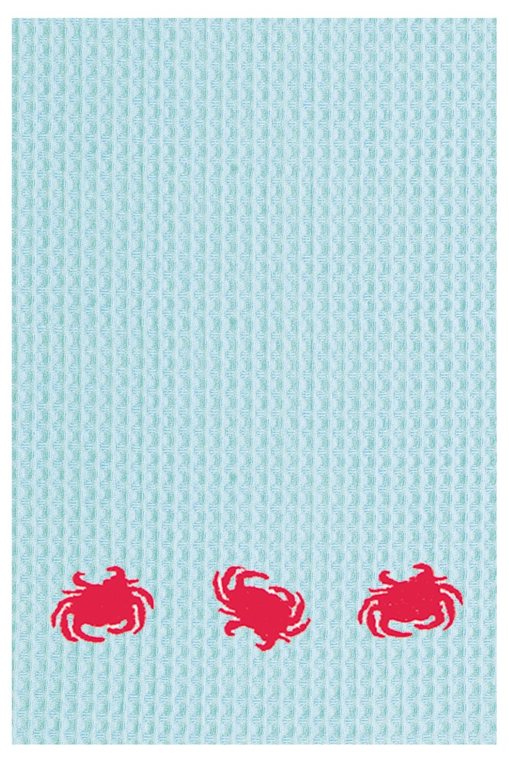 S/2 Three Crabs Kitchen Towels, Blue