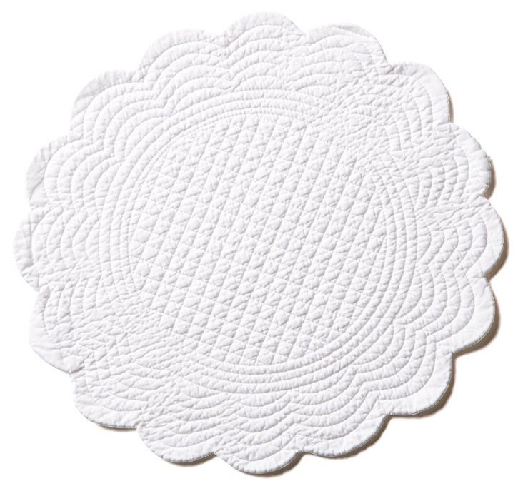 S/4 Round Pastels Place Mats, White