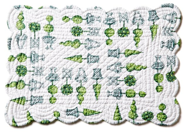S/4 Topiary Place Mats, Green