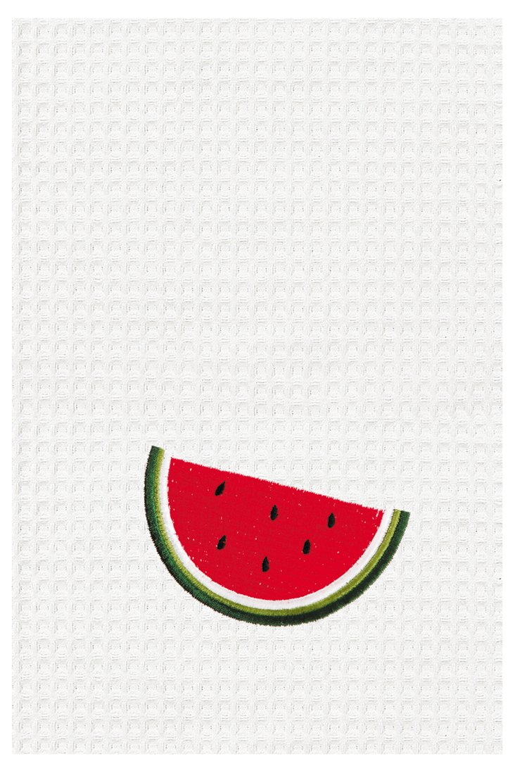 S/2 Watermelon Kitchen Towels, White