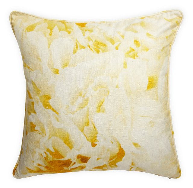 Yellow Watercolor Floral-Print Pillow
