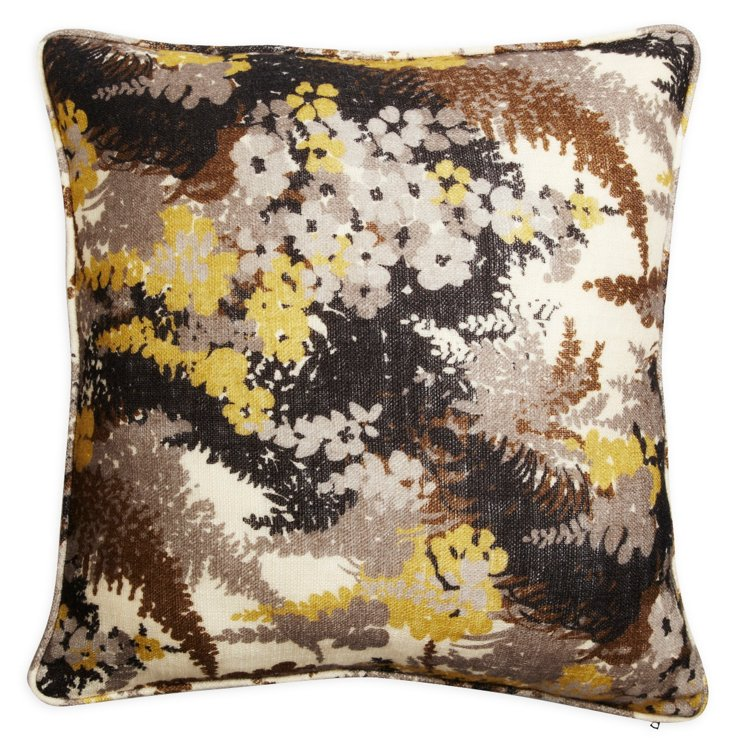 Fern Forest Yellow Wood Tweed Pillow
