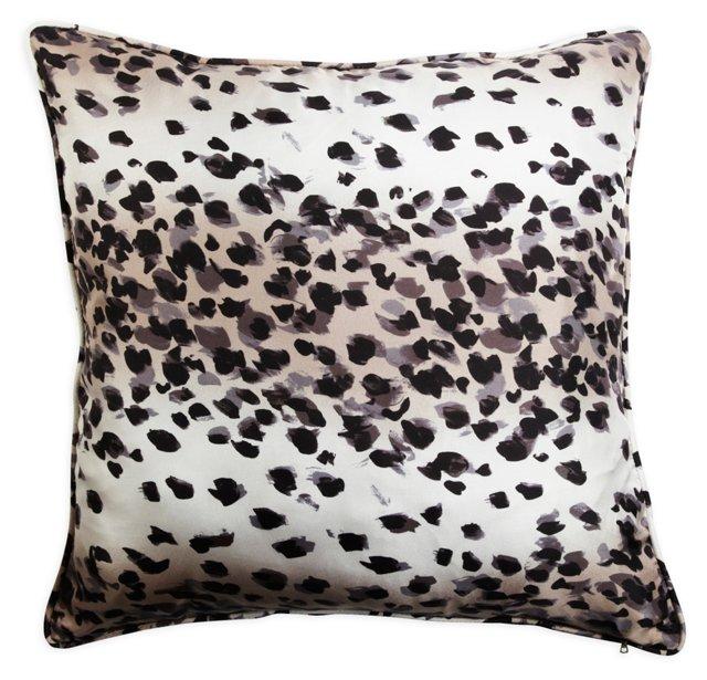 Gray Leopard Seal-Print Pillow
