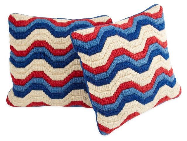 Needlepoint Accent Pillows, Pair