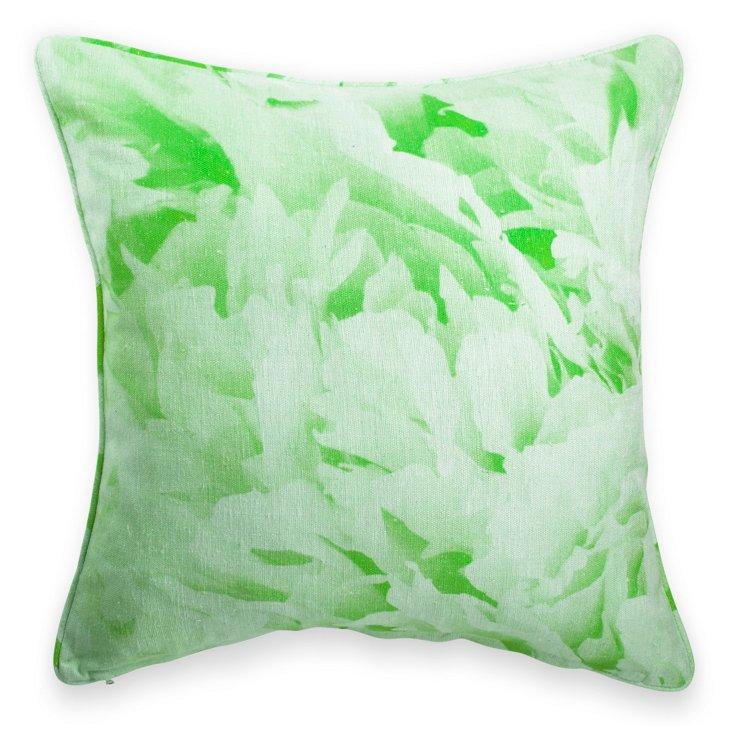 Watercolor Green Print Pillow