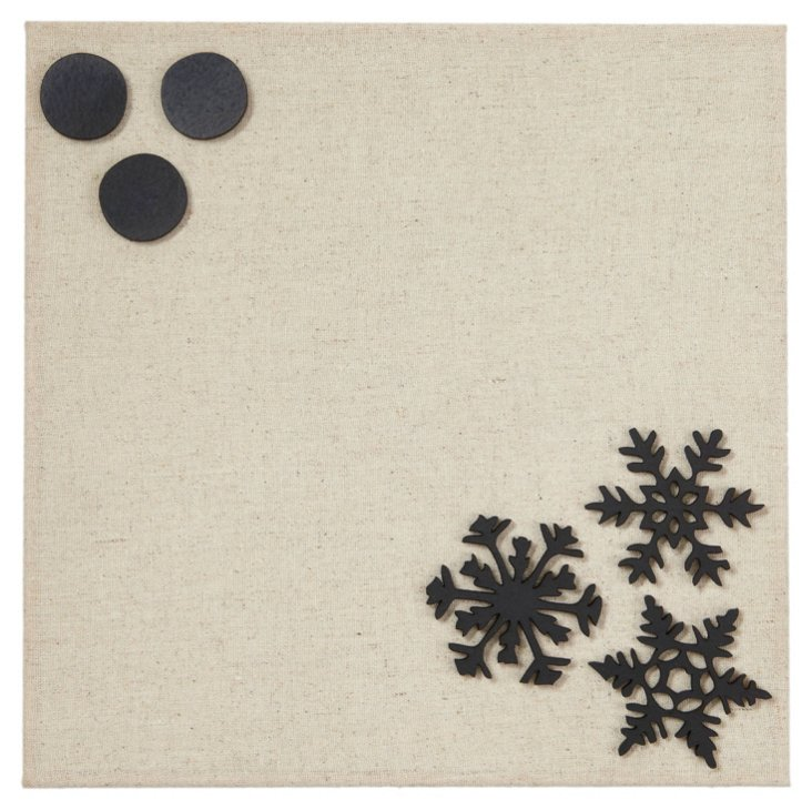 Fabric Magnetic Board, Snowflakes Black