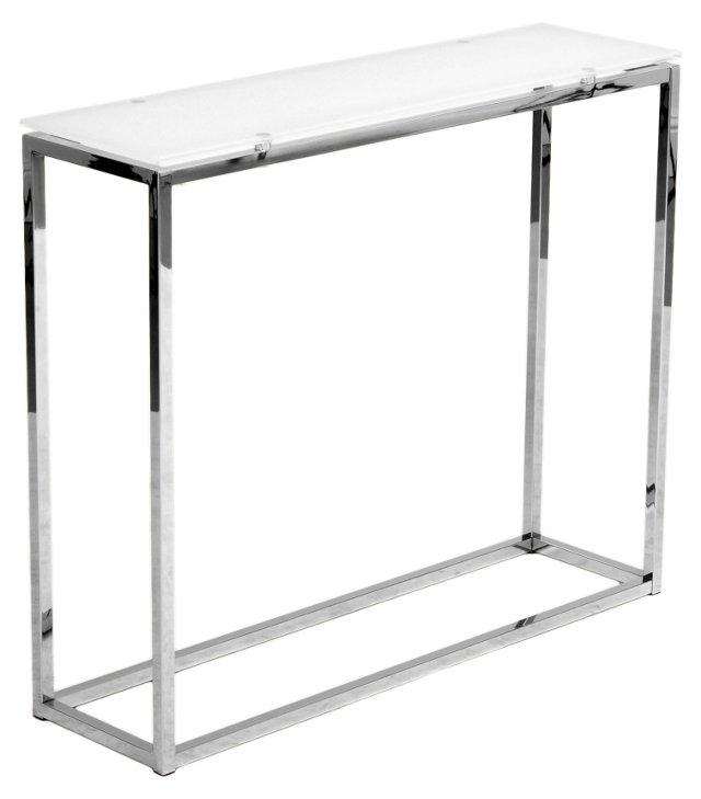 Sandor Console Table, White Glass