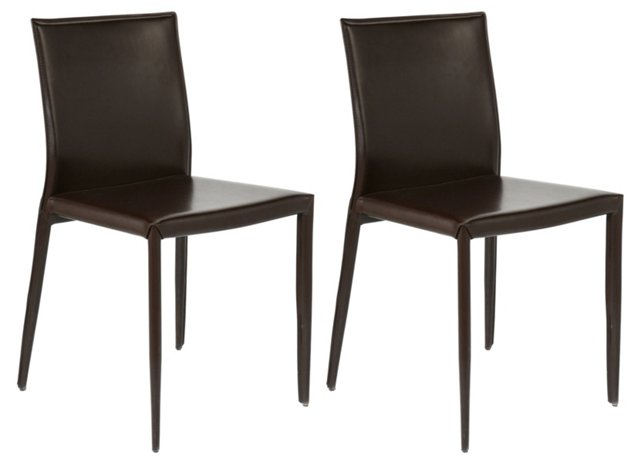 Chocolate Shen Leather Chairs, Set of 4