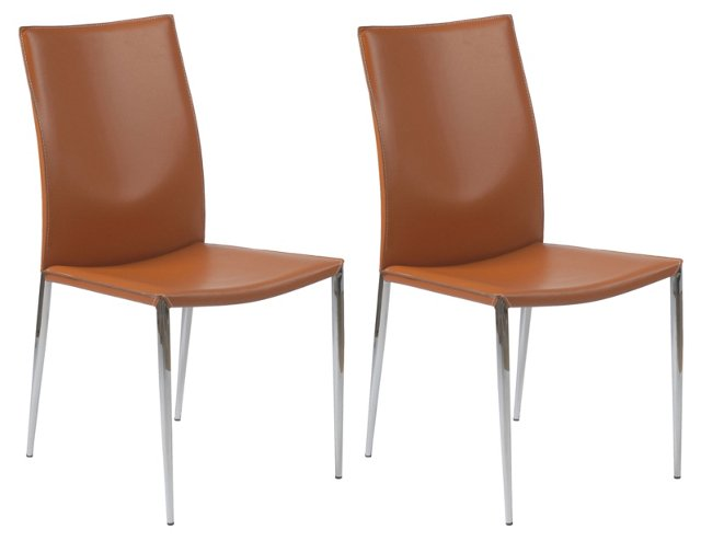 Cognac Max Side Chairs, Pair