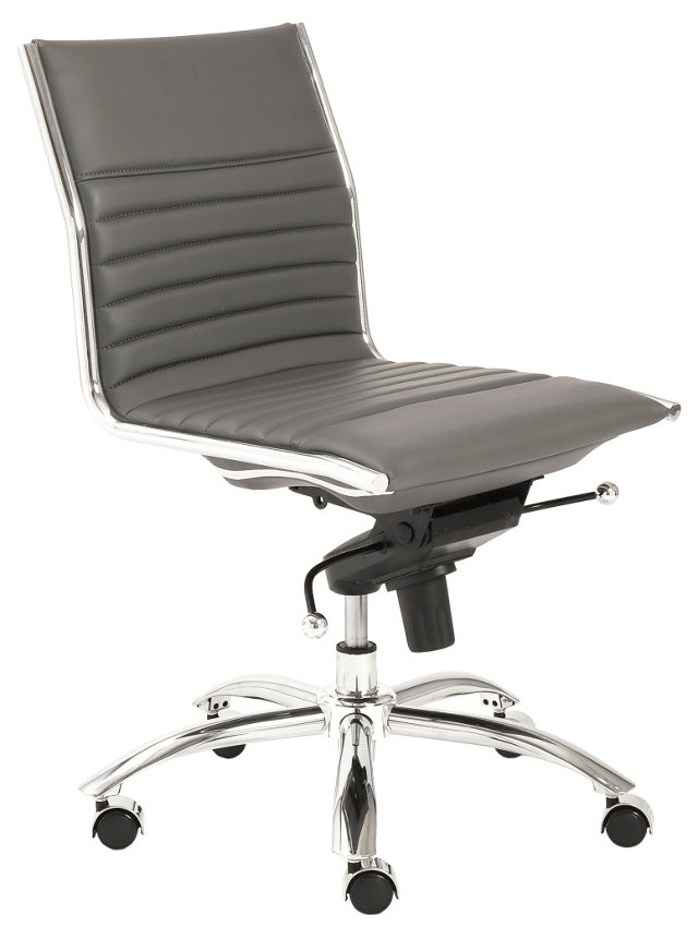 Cami Armless Low Back Office Chair, Gray