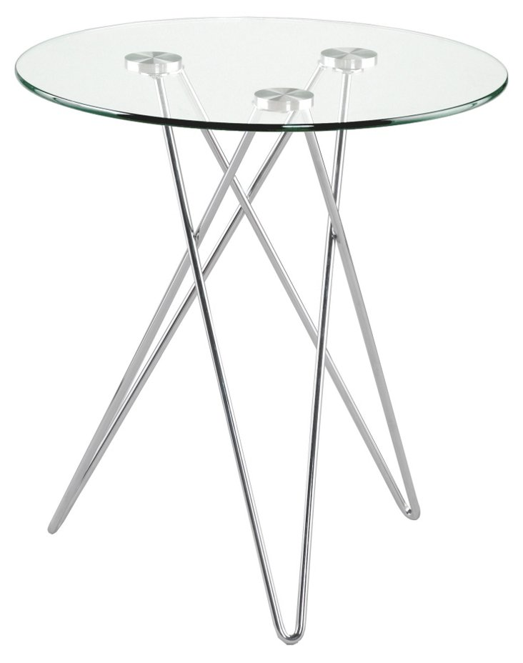 "Zoey Glass 19.75""Dia Side Table"