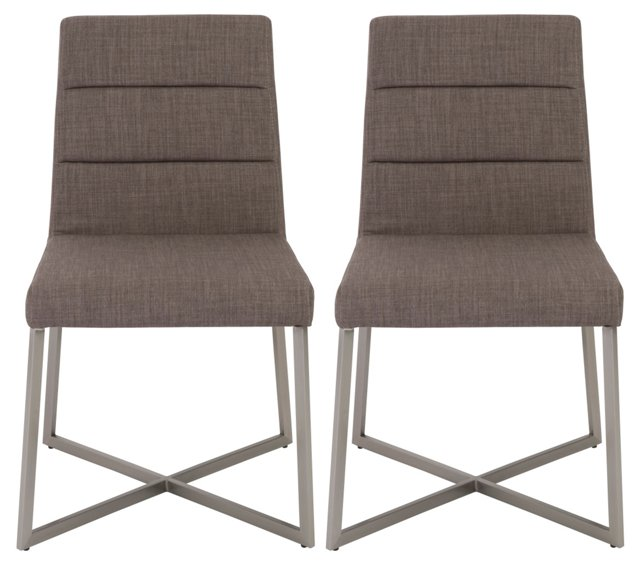 Light Gray Tosca Side Chairs, Pair