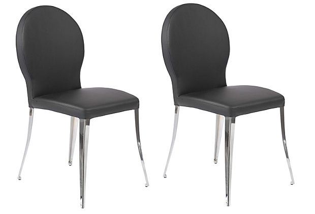 Black Fawcett Side Chairs, Pair