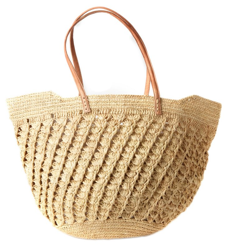 Small Crocheted Tote, Natural
