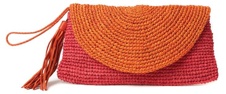 Colorblock Wristlet, Pink/Orange