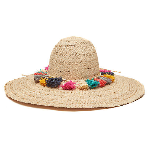 Paloma Raffia Hat, Natural/Multi