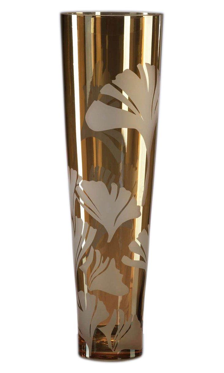 "20"" Amber Ginkgo Vase"