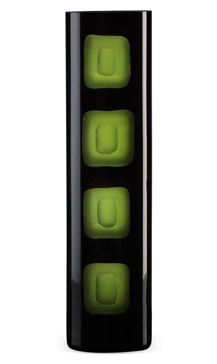 "16"" Black & Green Chiseled Vase"