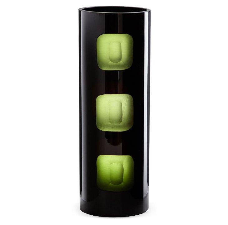 "12"" Black & Green Chiseled Vase"