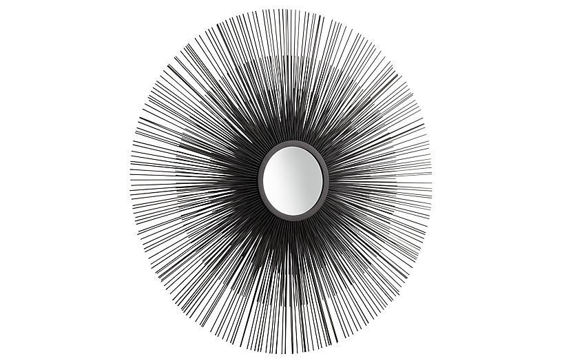 Double Solar Flare Wall Mirror, Graphite