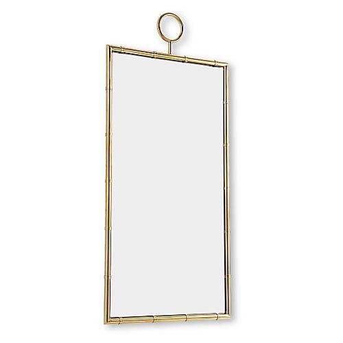 """Tia 28""""x61"""" Bamboo-Style Wall Mirror, Gold"""