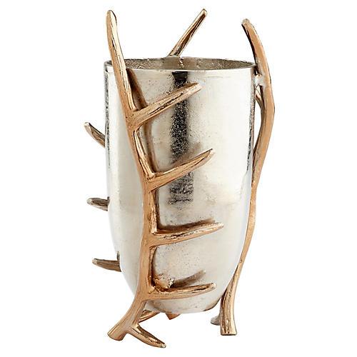 "15"" Night Watch Antler Vase, Silver/Gold"