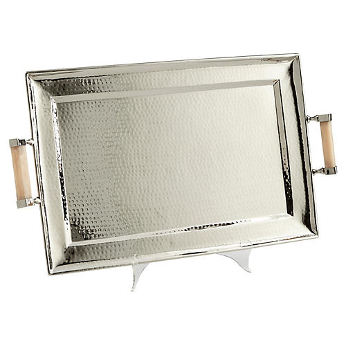 """28"""" Butlers Palace Tray, Silver"""