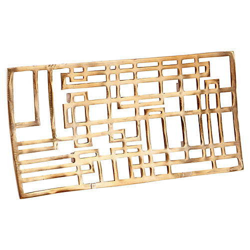 """21"""" Circuit Board Tray, Antiqued Brass"""