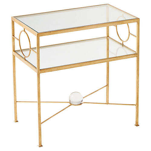 Auric Orbit Side Table, Gold Leaf
