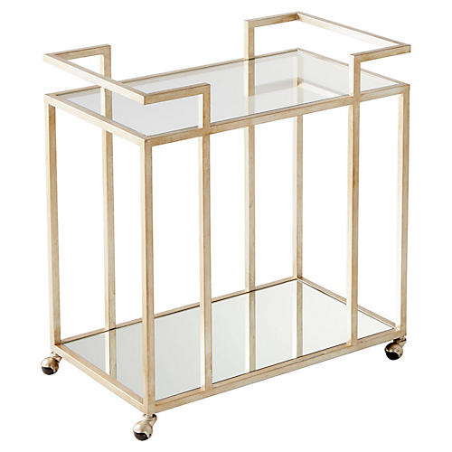 Revival Bar Cart, Antiqued Silver