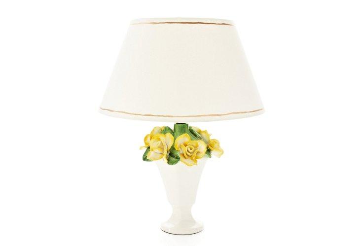 Rose Lamp w/ White Shade
