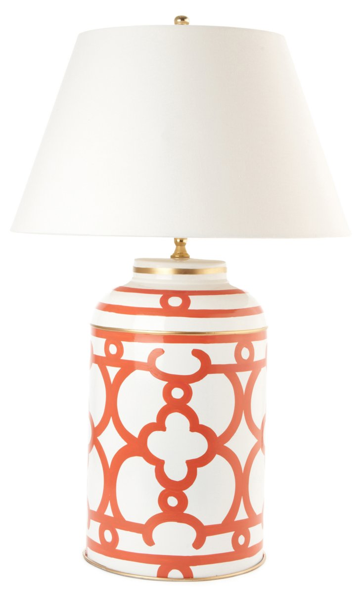 Ming Tea Caddy Lamp, Orange