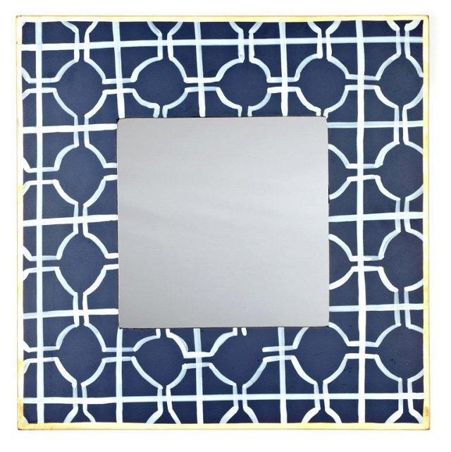 Cathay Small Square Mirror, Navy