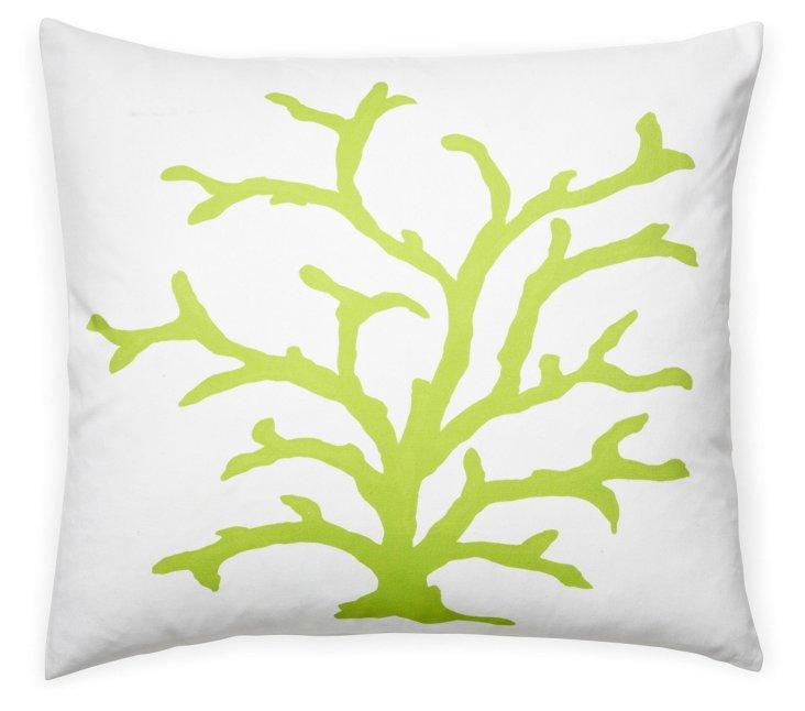 Coral 22x22 Cotton Pillow, Lime